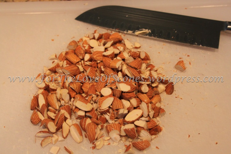 Coarsely chop the almonds