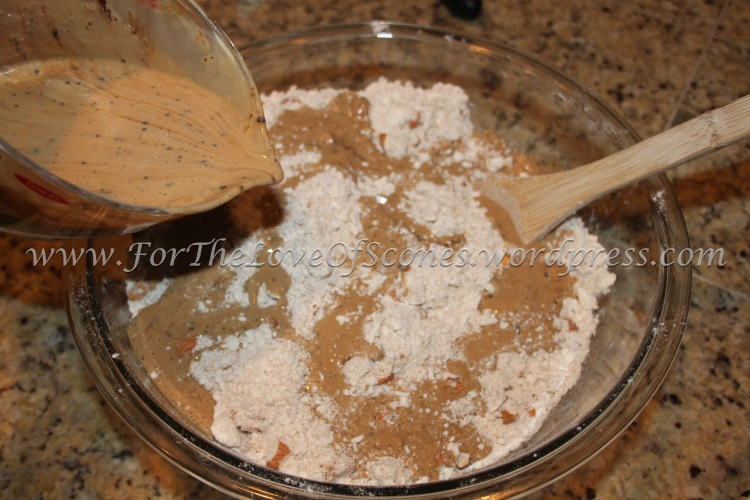 Drizzle the buttermilk-coffee mixture over the dry ingredients and mix well with a wooden spoon.