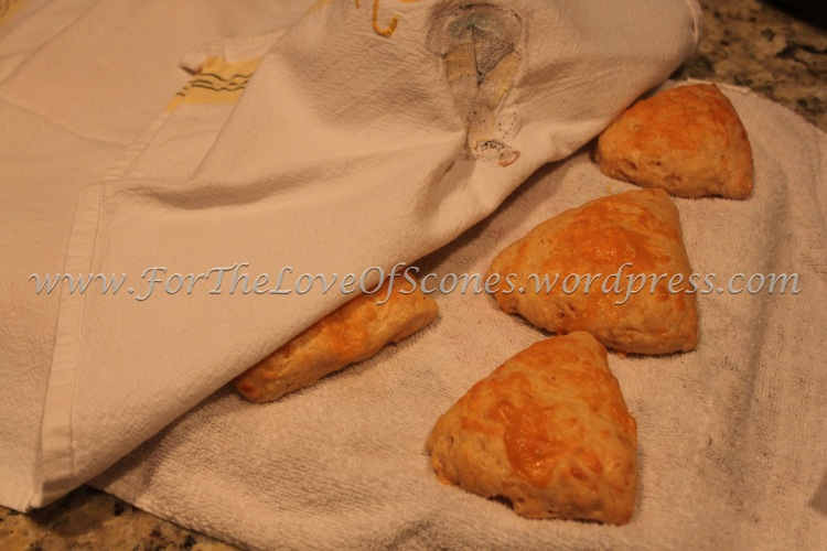 To cool these scones, place on a towel-lined wire rack and cover with a second towel.