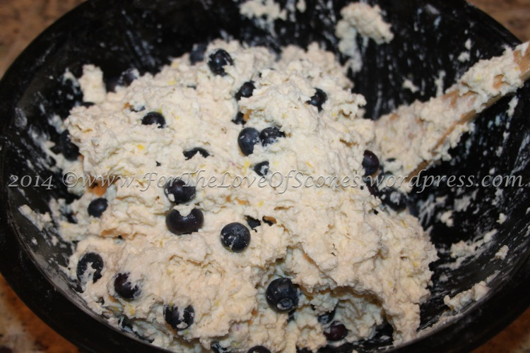 Mix until the blueberries are evenly distributed.