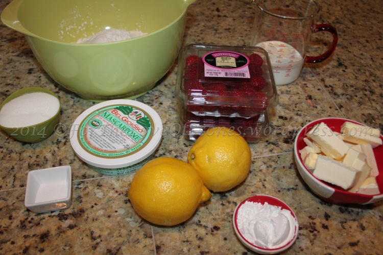 Measure everything out... be sure and wash the lemons and raspberries first!