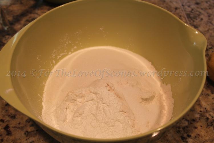 Combine the dry ingredients: baking powder, salt, sugar, and flour.