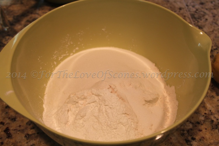 Combine the dry ingredients: baking powder, salt, sugar, and flour.
