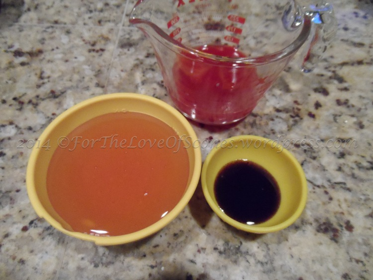 Combine honey, vanilla paste, and blood orange juice.