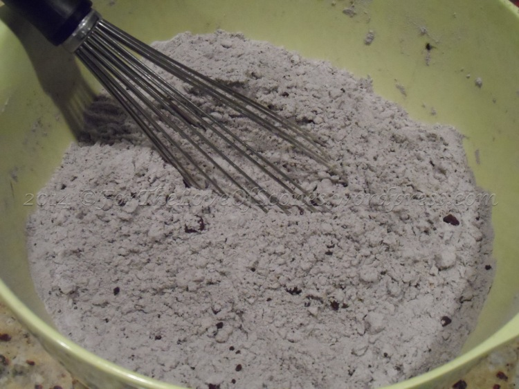 Whisk together the dry ingredients, breaking up any chocolate powder chunks. (If your chocolate powder is especially chunky, you can sift it before adding it to the dry ingredients.)