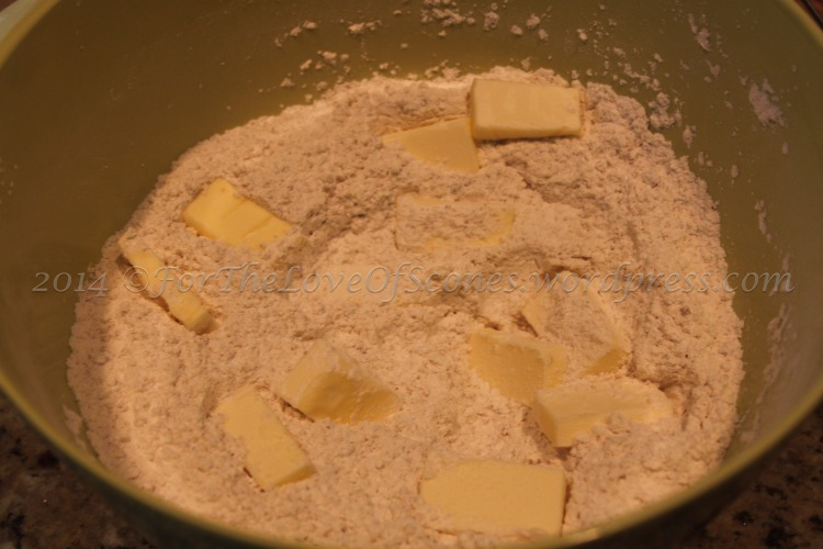 Add the butter and work it into the flour with a pastry blender. Some pea-sized chunks are okay with this recipe.